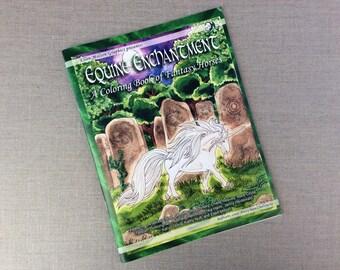 Coloring book Equine enchantment horses, pegasus, unicorn