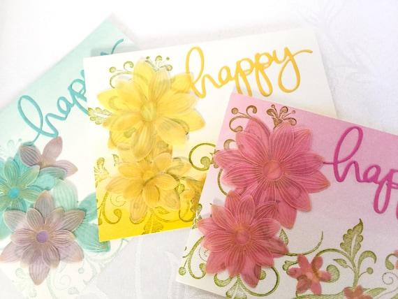 Pergament Blumen Geburtstagskarten Karten Zum Geburtstag Etsy