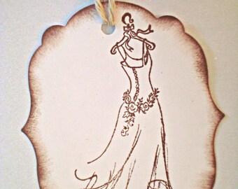 Handmade wedding gift tags - Elegant wedding tags - Wedding Dress - Wish tree tags - Vintage wedding tags - Bakers twine - set of 10