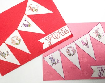 Red pink Valentines cards - Love cards - wedding cards - birthday cards - Mothers day card - anniversary cards