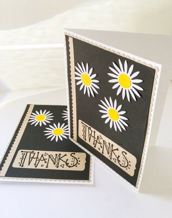 2 Handmade Thank You Cards Daisy Cards Masculine Thank You Etsy