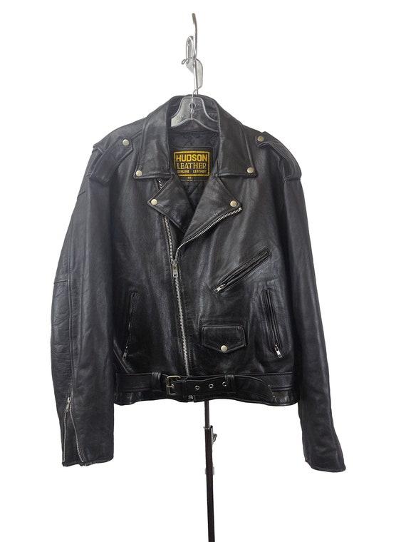 Hudson Leather Motorcycle Jacket size 52