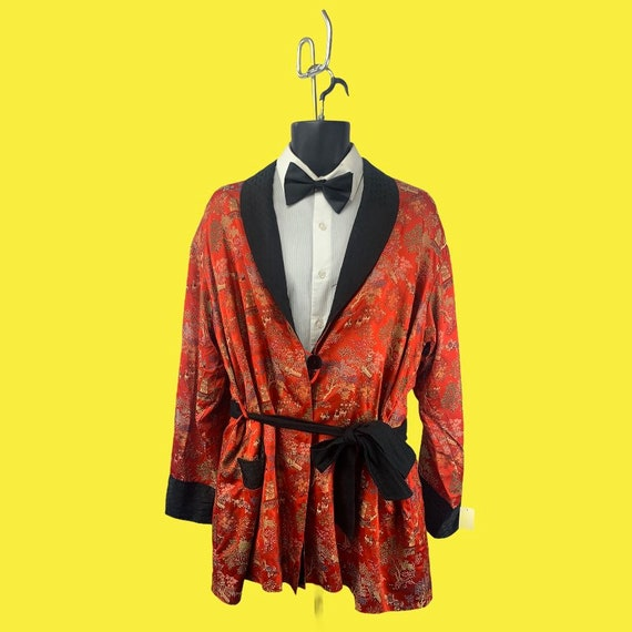 Vintage Smoking Jacket with Embroidered Scenery