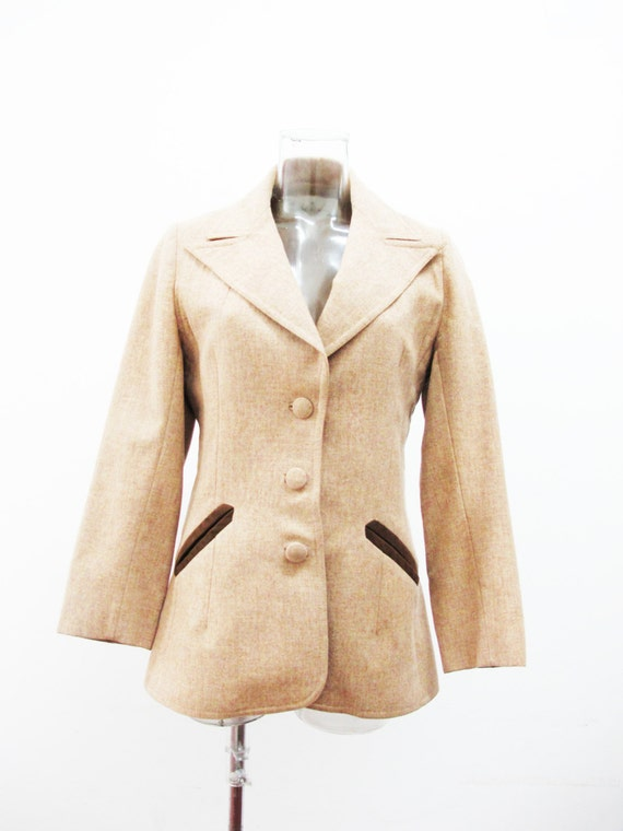 Early 1960s Lilli Ann Camel Jacket with Suede Pock