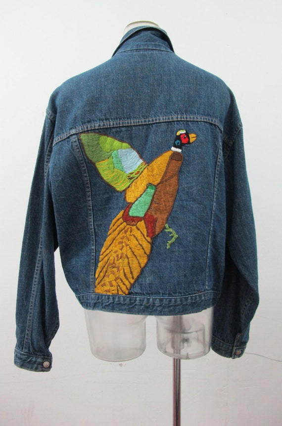 1970s Pheasant Custom Embroidered Denim Jean Jacke