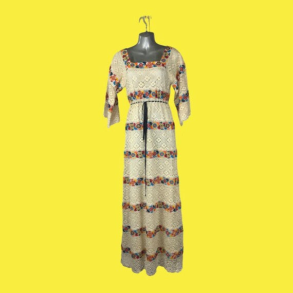 1970's Crochet/Embroidered Frock