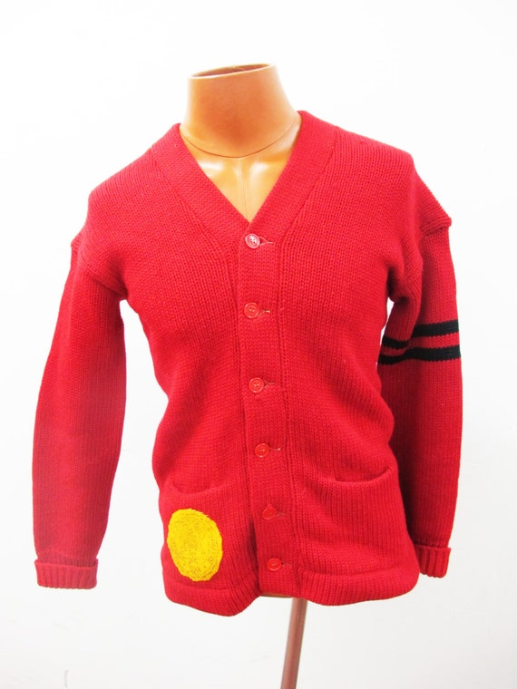 1940s Varsity Red Sweater with 1891 Patch