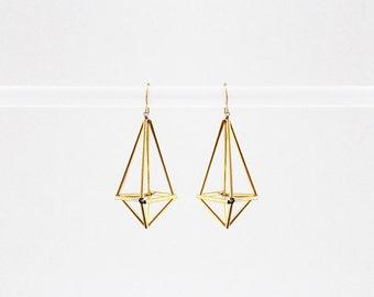 Himmeli inspired geometric earrings, dangle earrings in gold