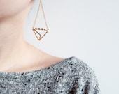 Geometric triangle pyramid metallic dangle earrings, geometric earrings.