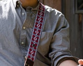 Guitar Strap - Custom Guitar Strap - Red Geometric Flowers Woven Ribbon on Organic Hemp Webbing and Leather Ends