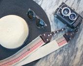 Camera Strap - DSLR Camera Strap - Bohemian Fringe Woven Ribbon on Organic Hemp Webbing and Leather Ends
