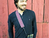 Camera Strap - DSLR Camera Strap - Red Geometric Flowers Woven Ribbon on Organic Hemp Webbing and Webbing ends