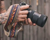 Camera Strap - DSLR Camera Strap - Colorful Bohemian Woven Ribbon on Organic Hemp Webbing and Leather Ends