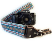 Camera Strap - DSLR Camera Strap - Teal and Coral Bohemian Woven Ribbon on Organic Hemp Webbing and Leather Ends