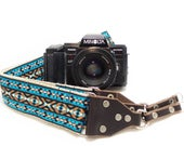 Camera Strap - DSLR Camera Strap - Teal Vintage Style Woven Ribbon on Organic Hemp Webbing and Leather Ends