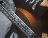 Guitar Strap - Custom Guitar Strap - Teal Vintage Style Woven Ribbon on Organic Hemp Webbing and Leather Ends