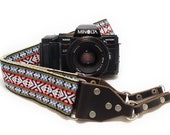 Camera Strap - DSLR Camera Strap - Pink Vintage Style Woven Ribbon on Organic Hemp Webbing and Leather Ends