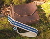 Leather Guitar Strap Purse - Saddle Bag Purse with Blue Geometric Hemp Strap - Bohemian Brown Leather Purse