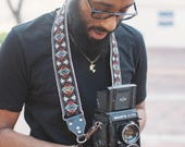 Camera Strap - DSLR Camera Strap - Black Southwestern Woven Ribbon on Organic Hemp Webbing and Leather Ends