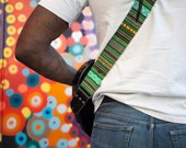 Guitar Strap - Custom Guitar Strap - Green Bohemian Stripes Woven Fabric on Organic Hemp Webbing and Leather Ends