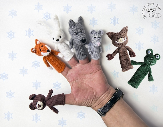 Finger Puppets Set Of 7 Knitting Patterns Knitted In The Etsy