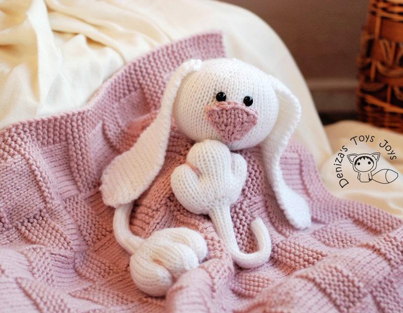 Pink Baby Bunny Toy Blanket knitting pattern | Etsy