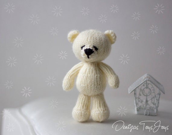 Polar Bear Toy Pdf Knitting Pattern Newborn Knitting Pattern Etsy