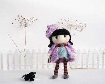 Zefirka. The Doll with small dog Pdf knitting pattern. Knitted in the round. Cute girl gift