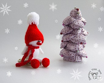 Small SnowMan - pdf knitting pattern ( knitted in the round ). Christmas Ornament. New year Ornament. Christmas Gift.