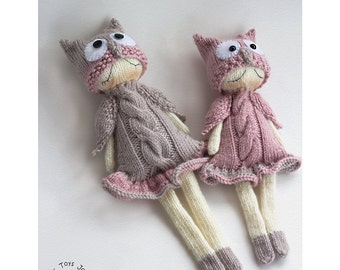 Owly Naptime dolls. PDF knitting pattern. Knitted in the round. Dolls for small babies. OWL pattern. Baby shower gift.  Nursery decoration
