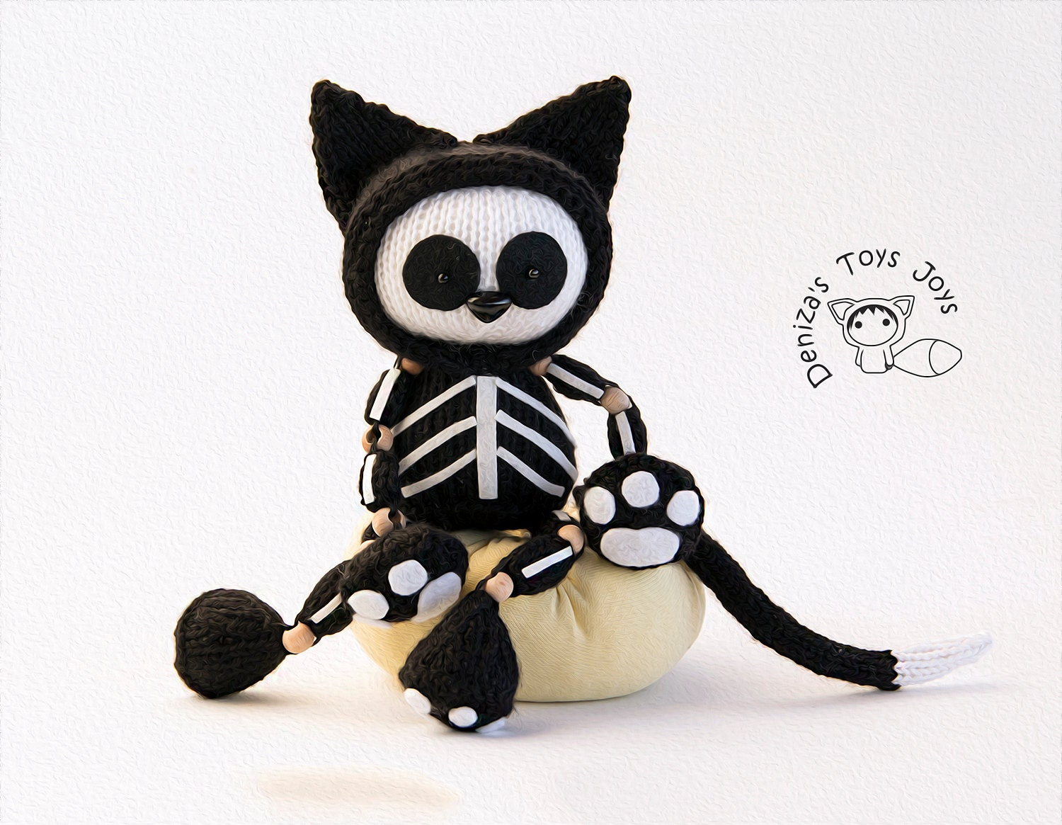 Skeleton Black Cat. Halloween Knitting pattern (knitted in the round ...