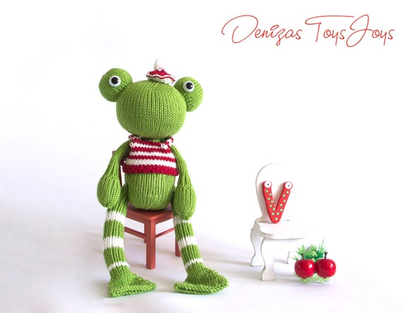 Mrv The Frog Pdf Knitting Pattern Knitted In The Round Etsy