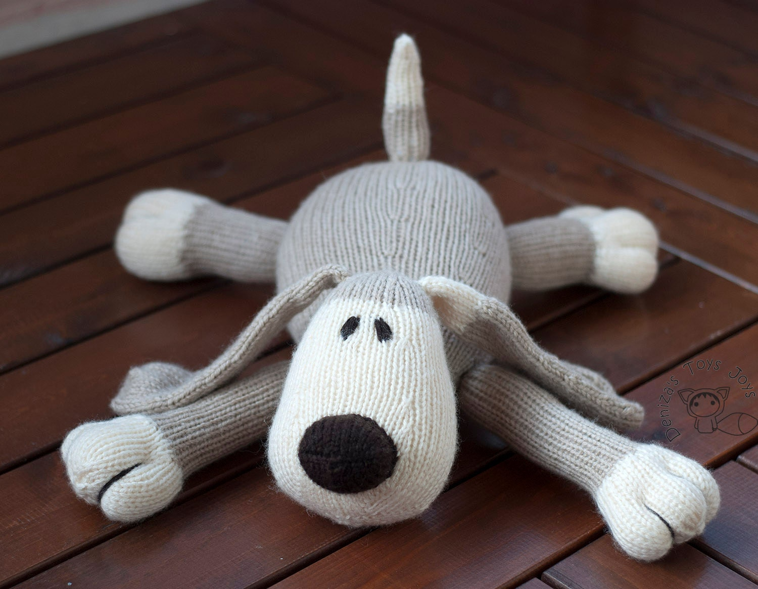 Dog PDF knitting pattern. Knitted in the round. Toy for ...