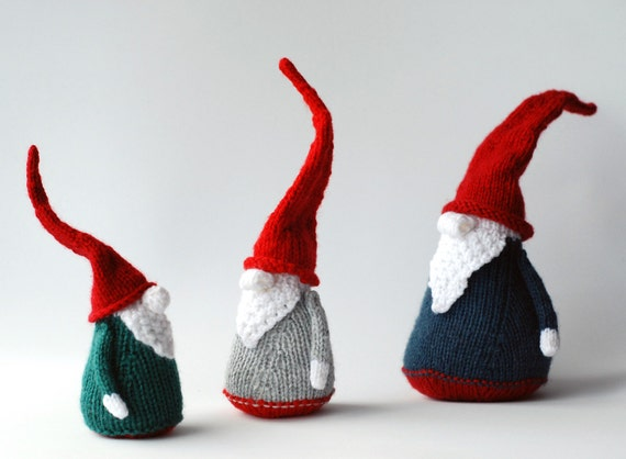 3 Gnomes Pdf Knitting Patterns Christmas Ornament New Year Etsy