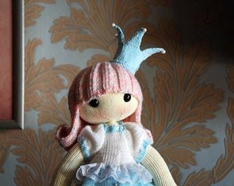 Shy Princess. Doll PDF knitting pattern. New baby gift pattern. Nursery decor pattern. Baby shower gift pattern.