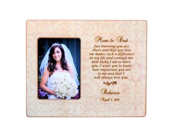a73da606a03b GIFT To PARENTS - Wedding Frame forParents- Personalized Picture Frame-  Parent Bride Wedding Gift 8x10 Overall Size