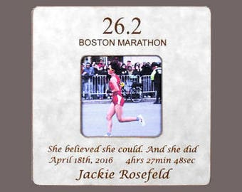 MARATHON RUNNER GIFT- Boston Marathon- Marathon Race Gift- Marathon Finisher Personalized Picture Frame-Finish Time- 8x8 Overall Size