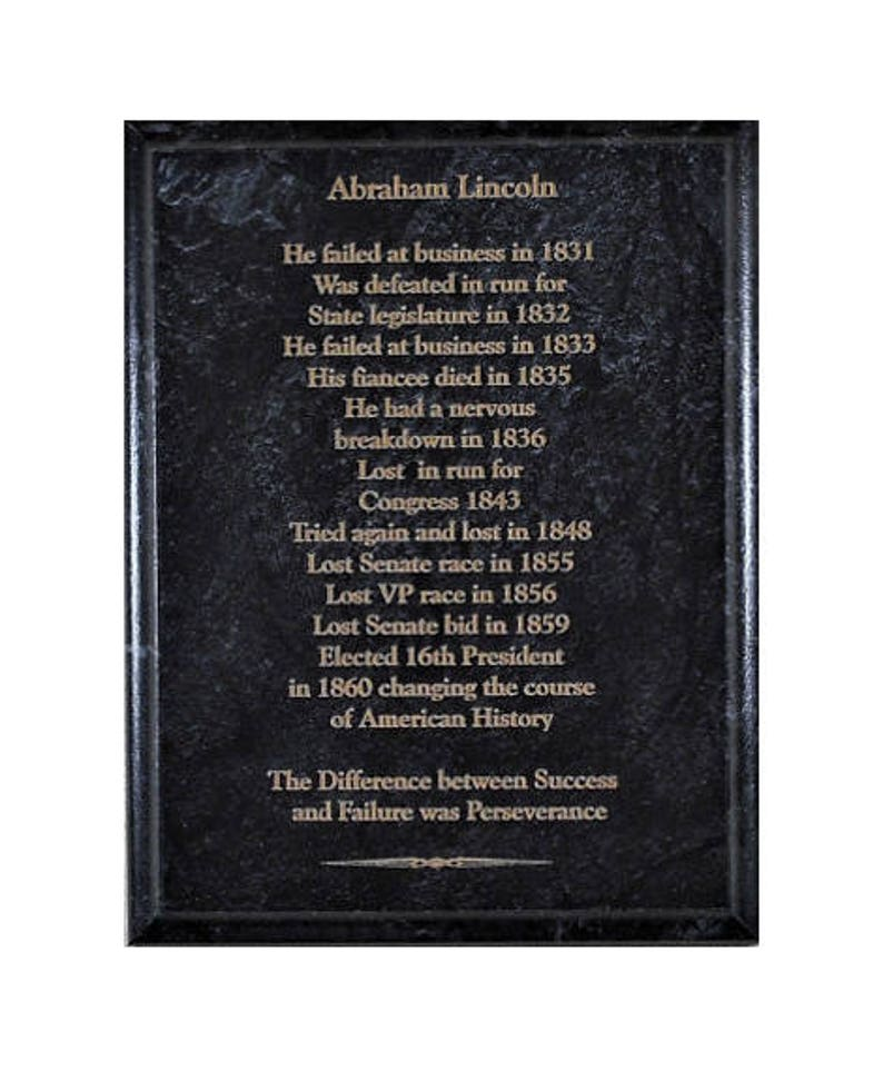 Abraham Lincoln On Success And Failure Marble Plaque Gift For Etsy