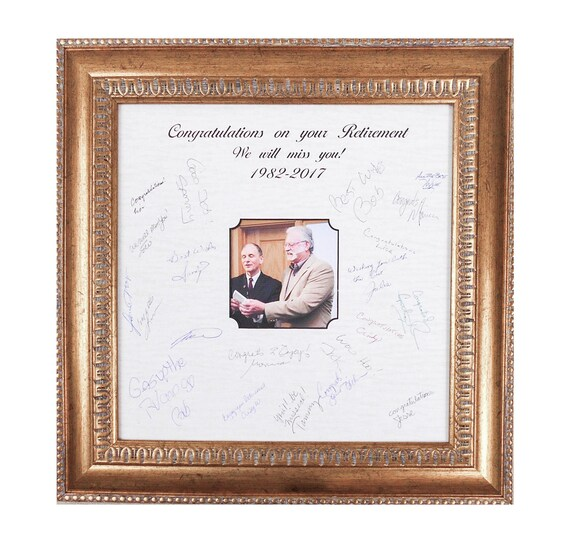 Retirement Frame Gift Signature Mat Frame Marriage Ceremony Etsy