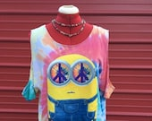 Upcycled cold shoulder tie dye minion shirt, size large, ladies tie dye shirt, hippie minion shirt, peace sign shirt, hippie shirt, tie dye