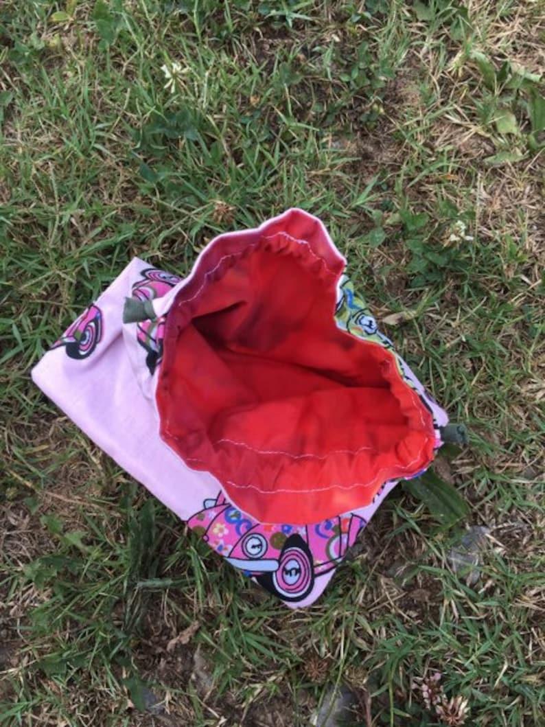vw bag handmade vw gift vw girl party favor bag vw bug hippie drawstring pouch custom orders available Pink vw bug drawstring bag