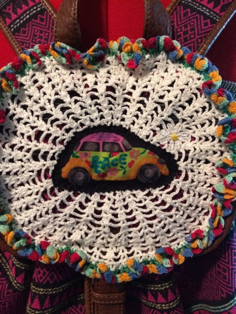 drawstring backpack Upcycled Aztec backpack upcycle lace trim crochet doily hippie bag ooak daisy festival backpack VW bug applique