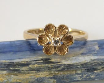 Vintage 1960's 14K Yellow Gold Blossom Flower Diamond Ring