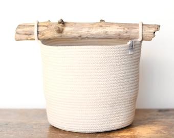 Storage basket with driftwood handle, handmade planter basket, tall caddy basket, cotton project basket