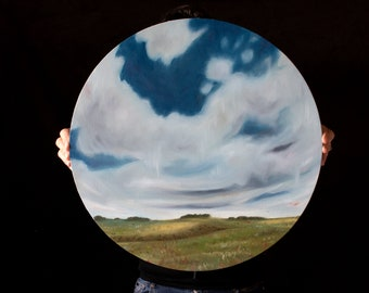 Round skyscape painting, Original oil painting, billowing clouds across this lush green rural landscape, art by NZ artist Mel McKenzie
