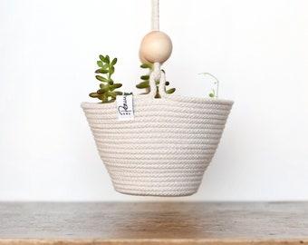 Hanging basket, hanging planter, storage baskets, coiled rope basket, rope bowl, bohemian, coastal decor, natural cotton with wooden beads
