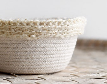 Rope basket with crocheted trim, small but mighty