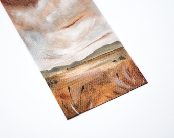 Original landscape painting, small oil painting with rust tones on canvas sheet, by New Zealand artist Mel McKenzie