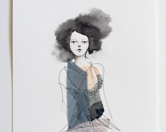 Watercolour mixed media: woman with black watercolour hair, a delicate pencil-drawn face and 'dressed' in assorted fabric