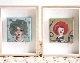 A series of square faces, framed - small oil on canvas portraits, individual, playful and quirky, handpainted originals by Mel McKenzie